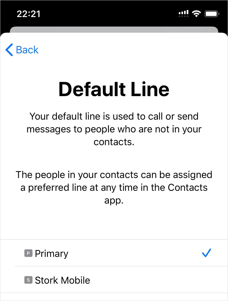 Choose Primary as your Default Line