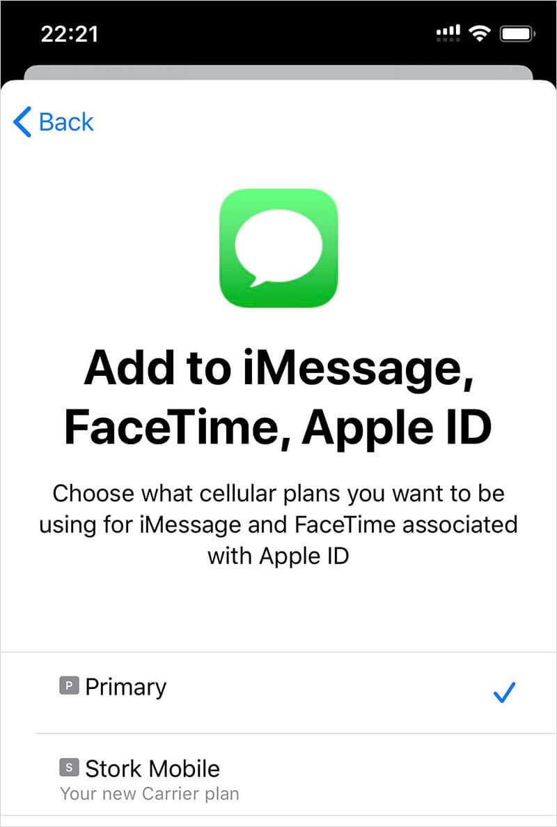 Choose Primary for iMessage, FaceTime and Apple ID