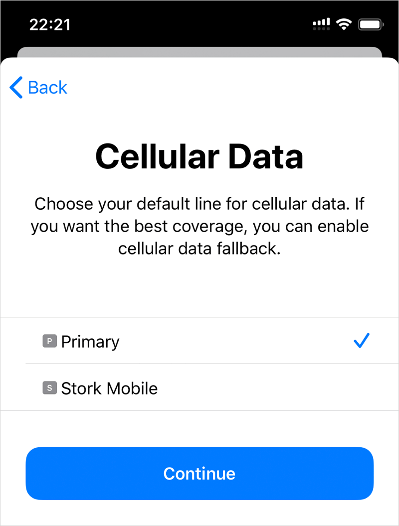 Choose your default line for cellular data