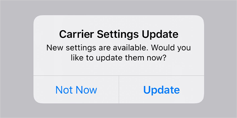 Tap <span class='ts-italic'>Update</span> on Carrier Settings Update